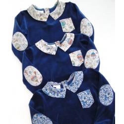 Pyjama velours bleu nuit