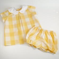 """""""Hermine"""" Vichy jaune soleil"""